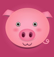 image of a pig head on pink background vector image vector image