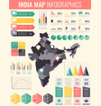 india map with infographic elements infographics vector image vector image