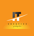 it i t letter modern logo design with yellow vector image vector image