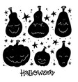 jack-o-lanterns greeting card with lettering vector image vector image