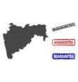 maharashtra state map in halftone dot style with vector image vector image