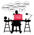 man silhouette with laptop and speech bubble vector image vector image