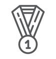 medal line icon badge and award prize sign vector image vector image