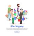 men shopping conceptual flat web banner vector image vector image