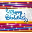 Merry Christmas handwritten blue swirl lettering vector image vector image