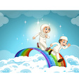 Muslim couple running over the rainbow vector image