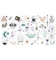 mystic symbols and occult wisdom signs vector image
