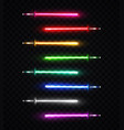 neon light swords set on transparent background vector image vector image