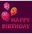 Original Watercolor mosaic Happy Birthday Greeting vector image vector image