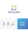 people family health care group logo icon vector image