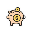 piggy bank save money flat color line icon vector image vector image