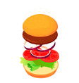 sandwich isometric style recipy vector image vector image