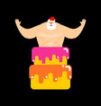 santa claus stripper from cake christmas vector image vector image