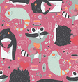 Seamless pattern with cute animals such as raccoon vector image vector image