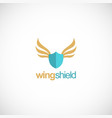 shield protection wing logo vector image vector image