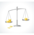 silver justice scales and money vector image vector image