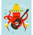Sombrero Macho Moustache Octopus Playing Guitar vector image vector image