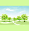 summer nature background with green trees and vector image vector image