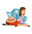 tourist woman with paper map and suitcase and hat vector image vector image