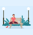 woman doing yoga on a bench at park vector image