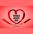 world heart day red concept background realistic vector image