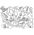 Doodle set of happy birthday vector image