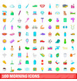100 morning icons set cartoon style vector image
