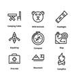 9 camping line icons vector image vector image