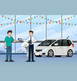 a happy businessman salesman is standing and give vector image vector image
