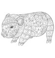 adult coloring bookpage a cute little pig image vector image vector image