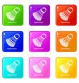badminton icons set 9 color collection vector image vector image