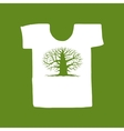 Big tree green on white t-shirt for your design vector image