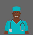 black male doctor medic man with stethoscope vector image