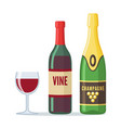 bottles of red wine and champagne icon in flat vector image