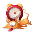 cartoon sleep funny cute cat and alarm clock vector image