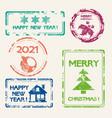 christmas stamp set new year symbols design vector image