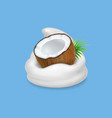 coconut and yogurt fruit and wipped cream icon vector image