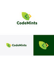 code mint leaf logo icon vector image