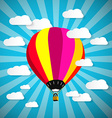 Colorful Hot Air Balloon on Blue Sky with Paper vector image