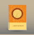 cover of diary or notebook yellow orange sun vector image vector image