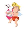 cupid with harp cartoon vector image vector image