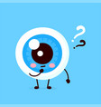 cute eyeball with question mark character vector image vector image