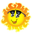 cute funny sun with sunglasses vector image