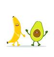 cute happy banana and avocado