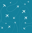 different airplanes paths seamless pattern vector image