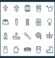 farm icons set with hose bailer carrot and other vector image