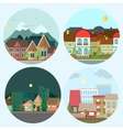 Flat design urban landscape day and night vector image vector image