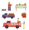 flat farmer products delivery process set vector image vector image