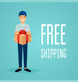 free shipping business concept delivery man with vector image vector image