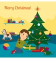 Girl decorate christmas tree vector image vector image